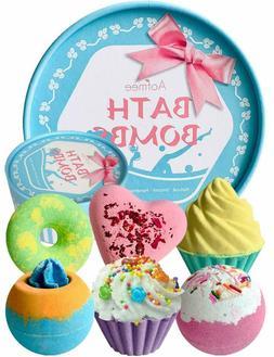 Aofmee Bath Bombs Gift Set Handmade Lush Bubble Organic Smoo