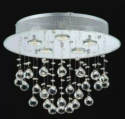 NEW CONTEMPORARY ROUND CRYSTAL BUBBLES CHROME CHANDELIER CEI
