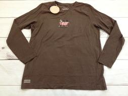 Life Is Good Womes Size Small, Medium Brown Long Sleeve Crus
